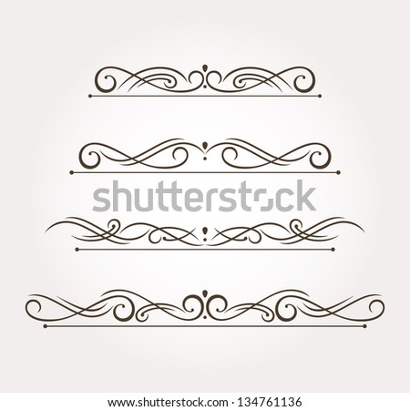 Set of four calligraphic design elements and page decoration. Vector illustration - stock vector