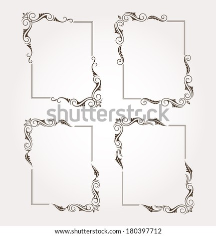 Set of four calligraphic floral frame and page decoration. Vector illustration - stock vector