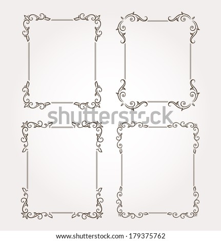 Set of four calligraphic floral frames and page decoration. Vector illustration - stock vector