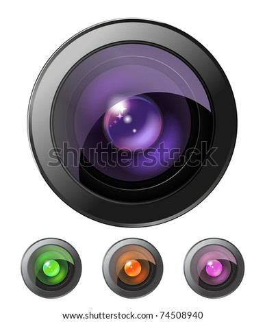 Set of four camera lenses isolated - stock vector