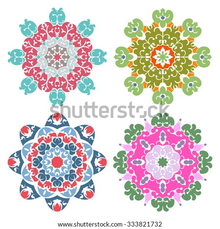 Set of four candy color eastern round ornaments mandalas isolated over white - stock vector