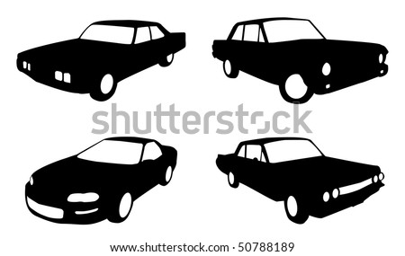 set of four car in silhouette form in black and white - stock vector