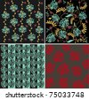 SET OF FOUR CARD WITH FLORAL SEAMLESS PATTERN - stock vector