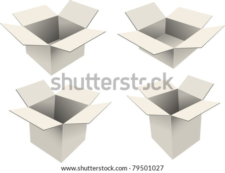 Set of four cardboard boxes - stock vector