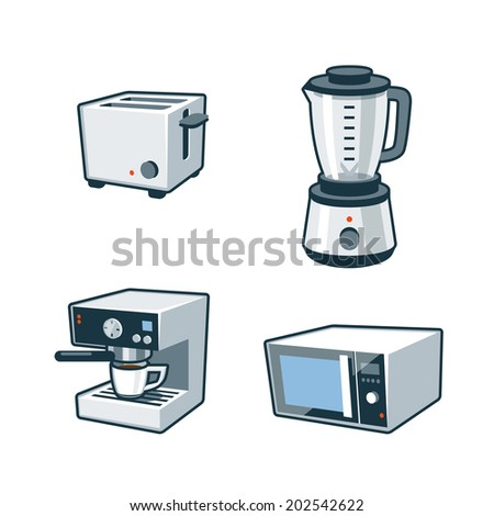 Set of four cartoon vector icons of a toaster, blender, coffee maker and microwave oven  - stock vector