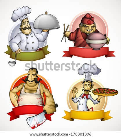 Set of four chefs in the form of sign - stock vector