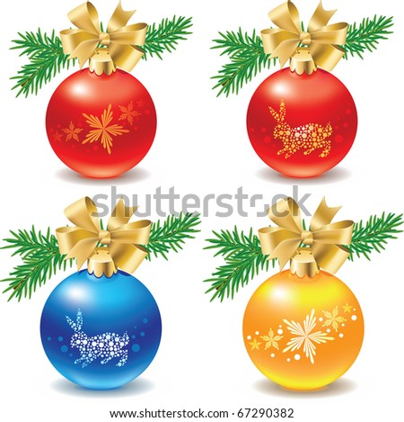 Set of four christmas balls decoration with branch of fir tree and golden ribbon bow and image of snowflakes and bunny rabbit - stock vector