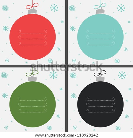 Set of four Christmas baubles in different colors with snowflakes and place for your text. Vector illustration. - stock vector