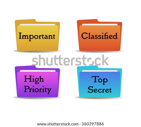 Set of four colored folders with the text important, classified, high priority and top secret written on each folder - stock vector