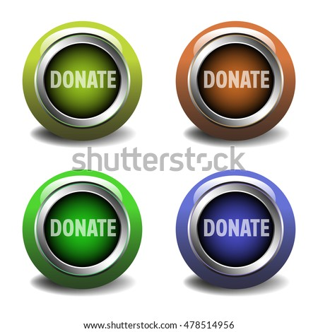 Set of four colored web glossy buttons with the text donate written on each button