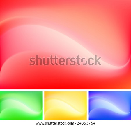 Set of four colorful but simple abstract backgrounds (contains gradient mesh!) - stock vector