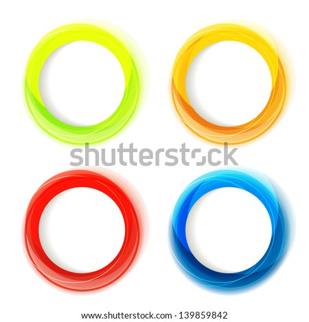 Set of four colorful circle frames with white copyspace. Eps10 - stock vector