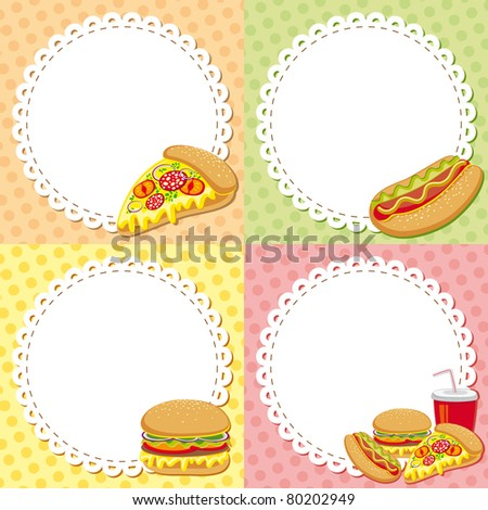 set of four colorful fast food backgrounds