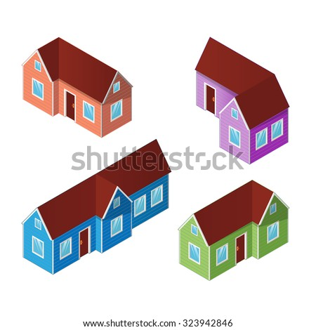 Set of four colorful isometric houses, building icons isolated on a white background. Isometric vector illustration.