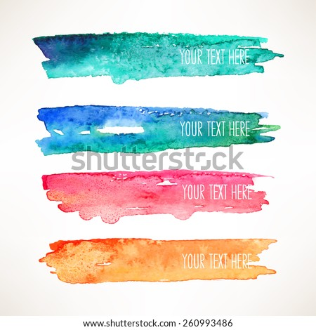 set of four colorful watercolor stroke backgrounds - stock vector