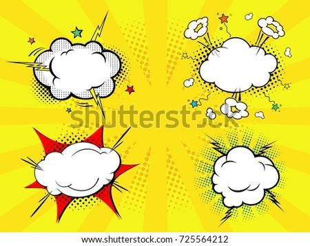 Set of four comic style clouds with background in rays. Vector illustration