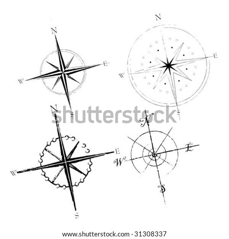Set of four compass roses - stock vector