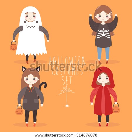 set of four cute cartoon girls in halloween costumes ghost cat little red