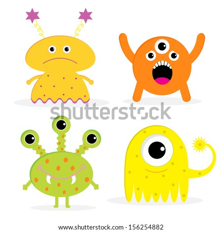 Set of four cute cartoon monsters. Isolated. Happy Halloween card. Vector illustration.