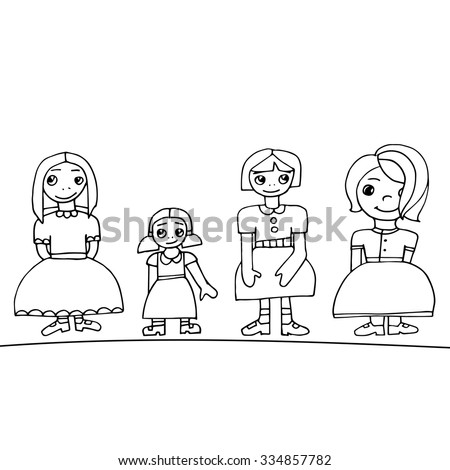 Set of four cute graphic hand drawn girls, line vector illustration. - stock vector