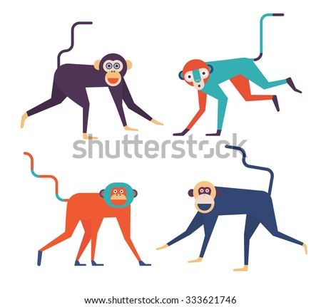 Set of four cute Monkeys. 2016 New Year Symbol.  - stock vector