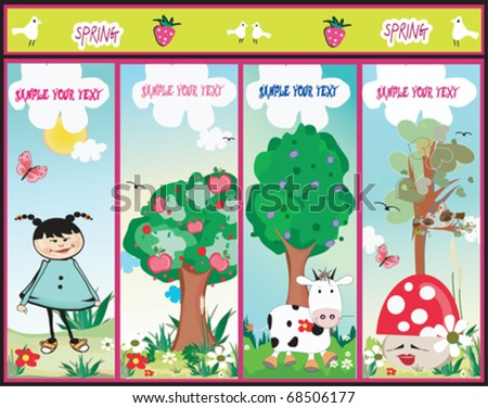 set of four cute nature banners - stock vector