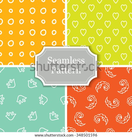 Set of four cute outline bright colored seamless patterns. Flowers, feathers, hearts and circles. Seamless abstract texture. Vector Illustration EPS 10.  - stock vector