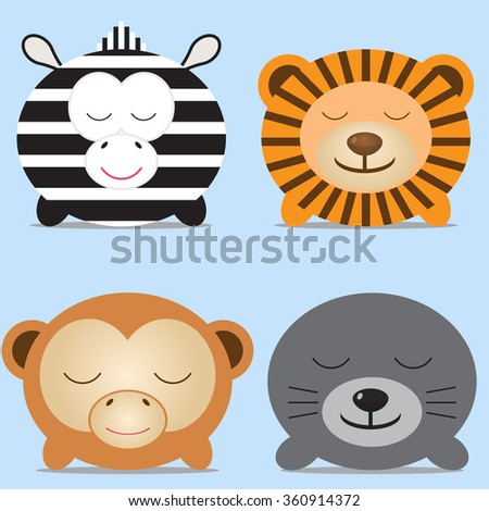 Set of four cute round animals - zebra, lion, monkey and navy seal. Vector illustration. For menu, cards, invitations, wedding or baby shower albums, backgrounds, wallpapers, arts and scrapbooks. - stock vector