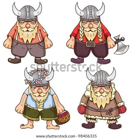 Set of four cute Vikings – winter, summer, regular and war time - stock vector