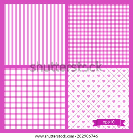 Set of four cute violet seamless patterns. Backgrounds with cages, sripes and hearts. Vector illustration.