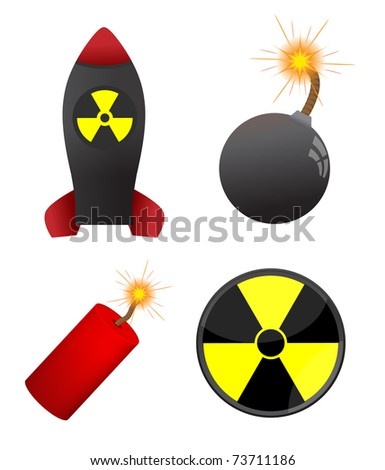 Set of four dangerous elements isolated on the white - stock vector
