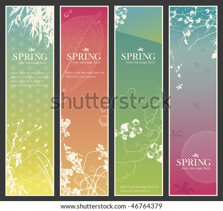 set of four delicate asia-style vertical banners with floral elements - stock vector