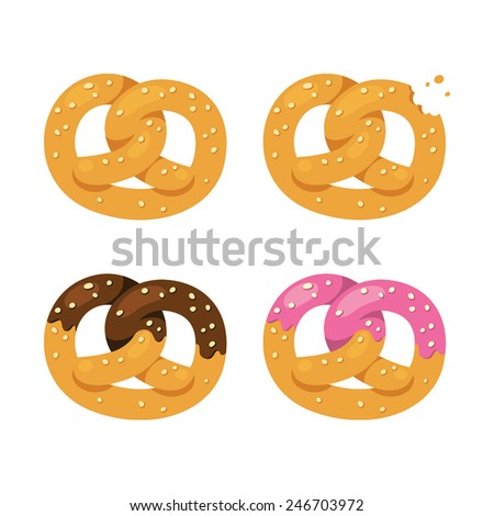 set of four delicious pretzels, chocolate glazed and unglazed pastry - stock vector