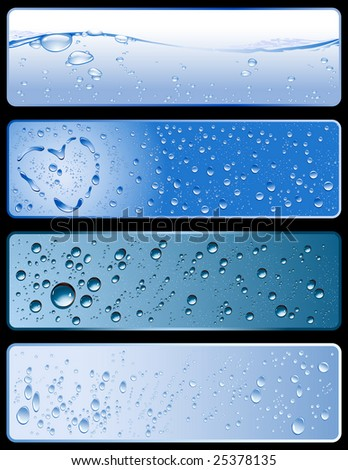 set of four different fresh water-textures - stock vector