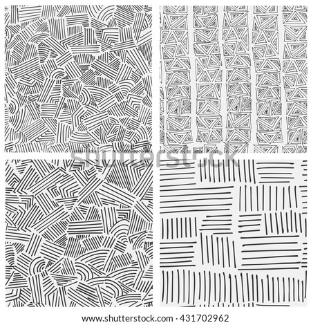 Set of four different geometric endless patterns