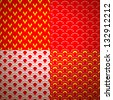 Set of four different geometrical patterns (seamlessly tiling). Vector illustration for your fashion design. Red, yellow and white color. - stock vector