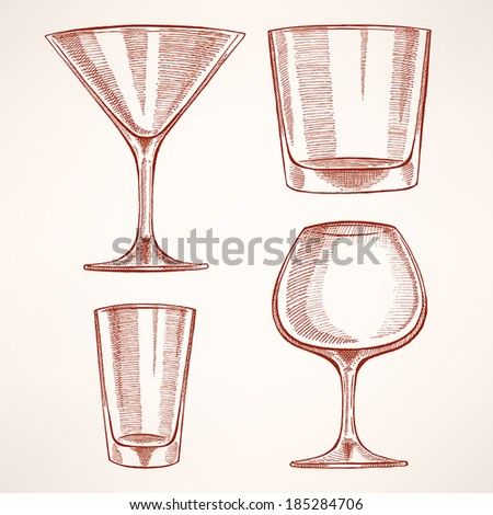 set of four different hand-drawn glasses for alcohol  - stock vector
