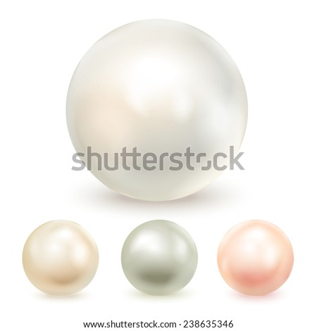 Set of four different pearls, isolated on a white background. Vector illustration - stock vector