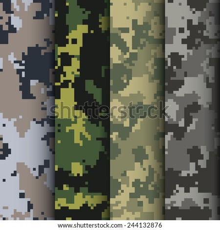 Set of four digital camo patterns vector - stock vector