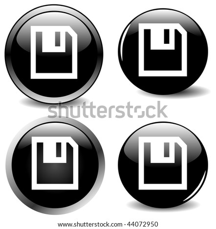 Set of four, easy to edit, black icon buttons with various highlights, gradients, drops shadows.