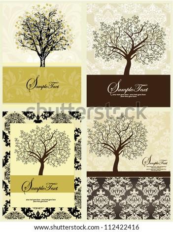 Set Of Four Family Reunion Invitation Card - stock vector