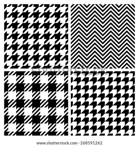 Set of four fashion patterns. Houndstooth, chevron, plaid patterns (vector version) - stock vector