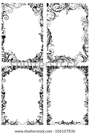 Set of four floral frame - stock vector