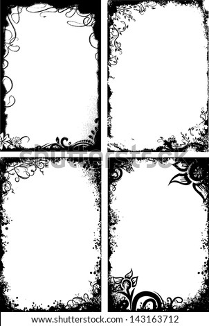 Set Four Frames Grunge Style Stock Vector 143163712 - Shutterstock