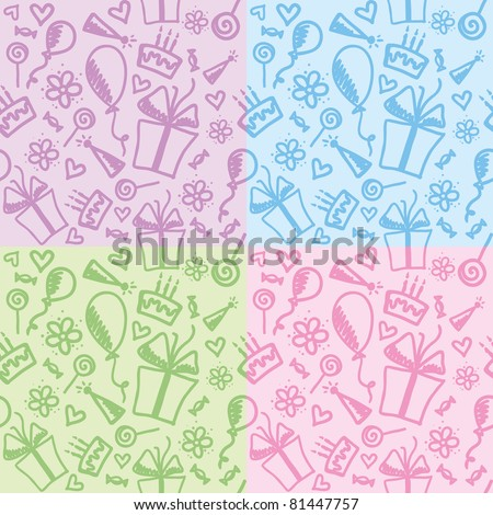 set of four funny color birthday patterns