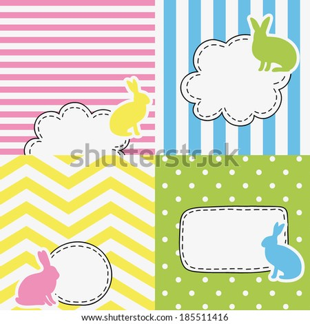 set of four funny colored tags with rabbits, bubbles with empty space for your text, spring holiday design for greeting cards, invitations, stickers, scrapbooking elements