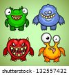 Set of four funny monsters variation 1 - stock vector