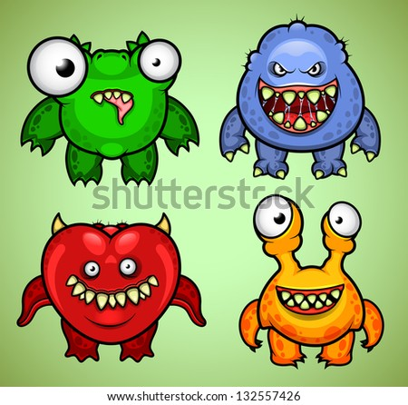 Set of four funny monsters variation 3 - stock vector