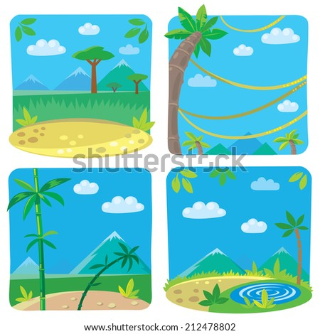 Set of four funny square simple nature background with palm and bamboo, small lake and lians trees, sky and sand. Children vector illustration - stock vector