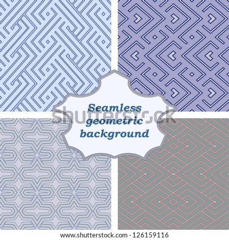 Set of four geometric pattern. - stock vector